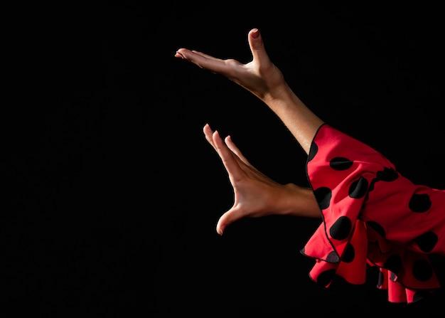 黒の背景に手を移動するクローズアップフラメンカ 無料写真