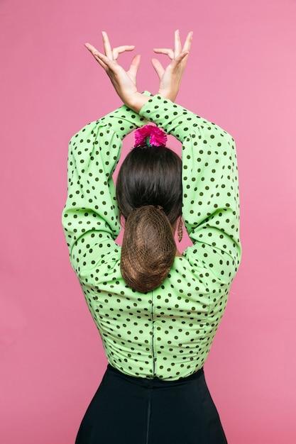 手を上げる背面図フラメンカ 無料写真