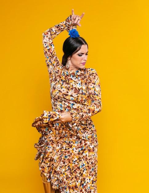 Привлекательная танцовщица фламенко позирует Бесплатные Фотографии