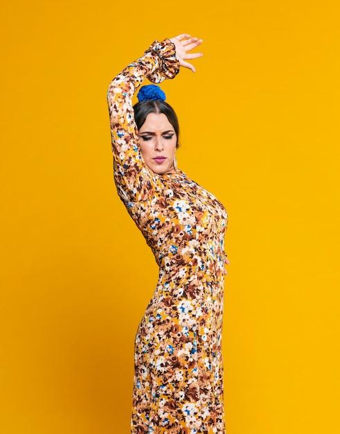Стильная танцовщица фламенко, поднимающая руку Бесплатные Фотографии