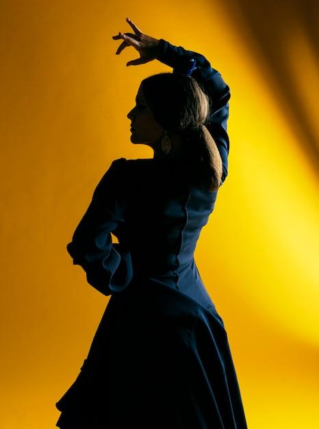 Фламенка женщина поднимает руку с подсветкой Бесплатные Фотографии