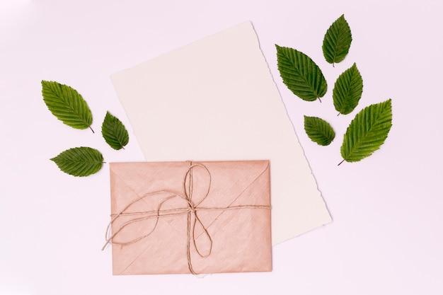 クローズアップトップビュー結束封筒と葉 無料写真