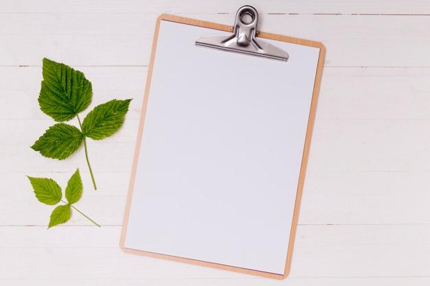 緑の葉を持つモックアップクリップボード 無料写真