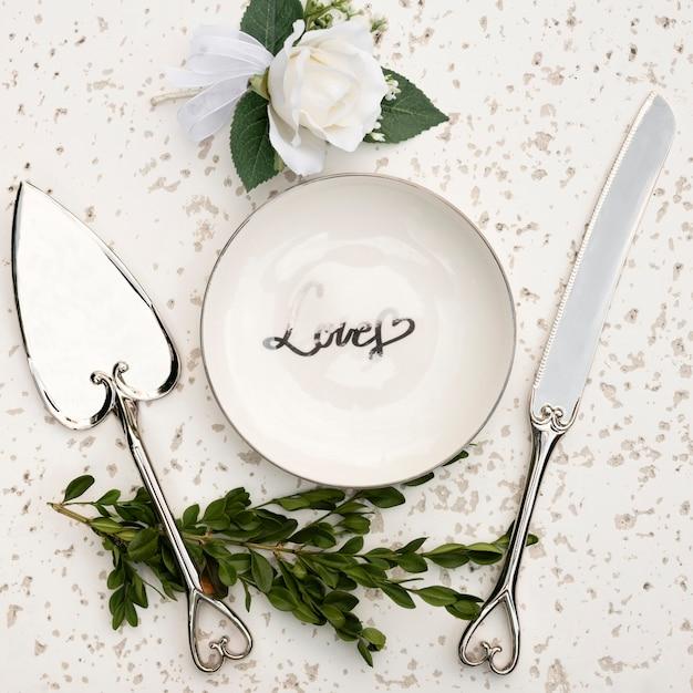 結婚式のテーブルの配置のフラットレイアウト 無料写真
