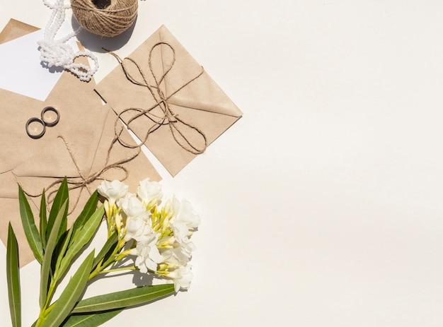コピースペース結婚式のための平面図創造的な構成 無料写真