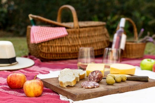 グルメのための正面のピクニックの手配 無料写真
