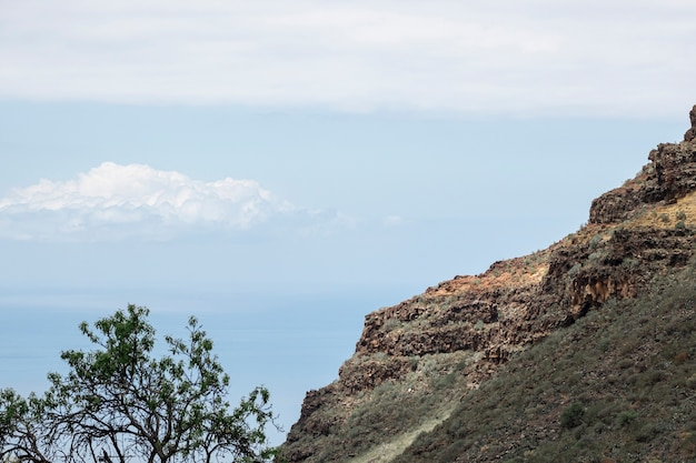 背景に雲と山 無料写真