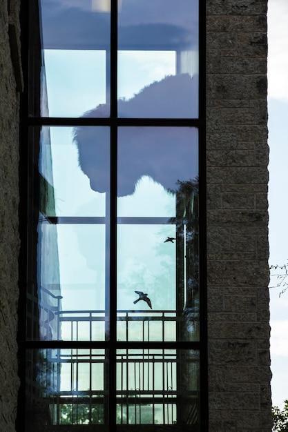 大きな窓のあるモダンなレンガ造りの建物 無料写真