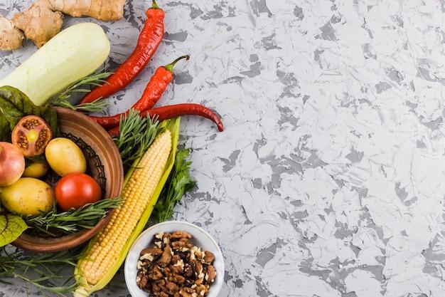 コピースペース平面図野菜 無料写真