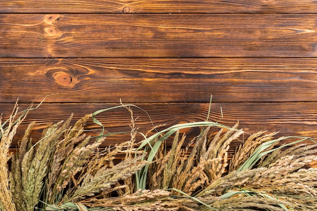 Вид сверху пшеницы фон с копией пространства Бесплатные Фотографии