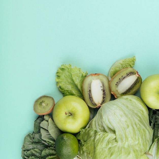 トップビュー緑の野菜と果物 無料写真