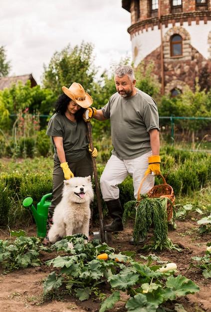 犬と庭で年配のカップル 無料写真