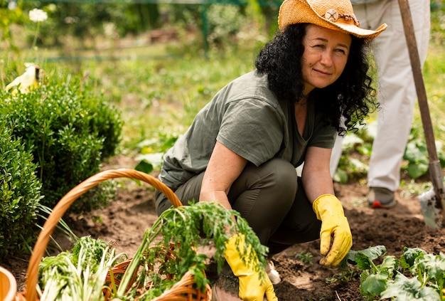 作物を気遣う年配の女性 無料写真