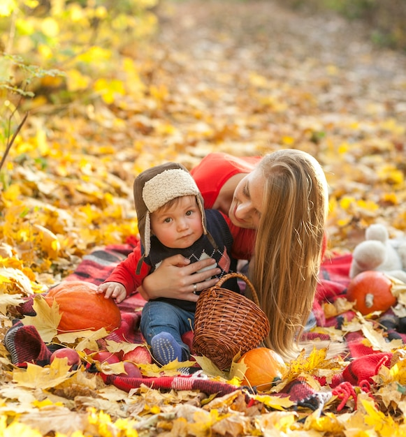 ママと赤ちゃんのピクニック毛布の上に座って 無料写真