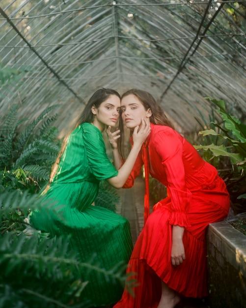 お互いを保持している女性の長いビューの肖像画 無料写真