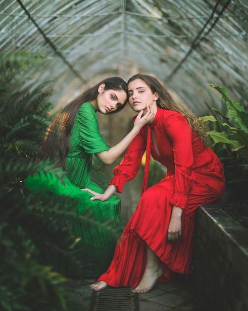 緑の家に座っている女性のロングショット 無料写真