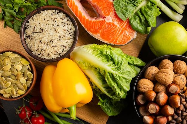 健康的な食材のクローズアップトップビュー 無料写真
