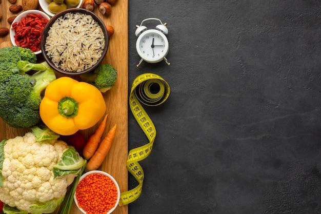 食料品とまな板の上から見る 無料写真