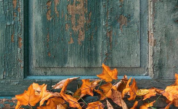 傷の背景に葉を持つトップビューの配置 無料写真