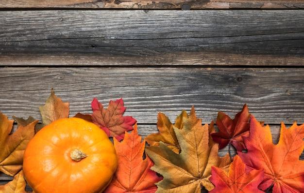 カラフルな葉とカボチャのフラットレイアウトフレーム 無料写真