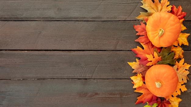 コピースペースでカラフルな葉の上のオレンジ色のカボチャ 無料写真