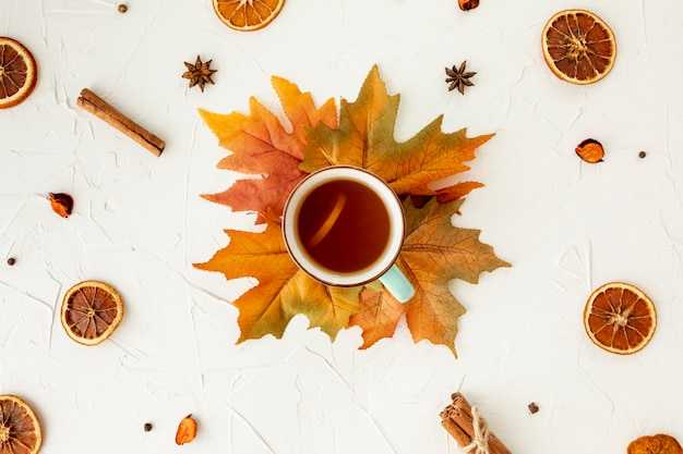 葉の上にお茶のトップビュー 無料写真