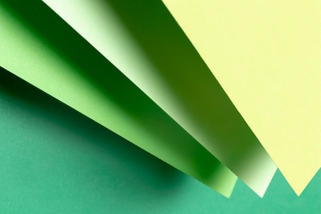 緑紙のさまざまな色合いのトップビュー 無料写真