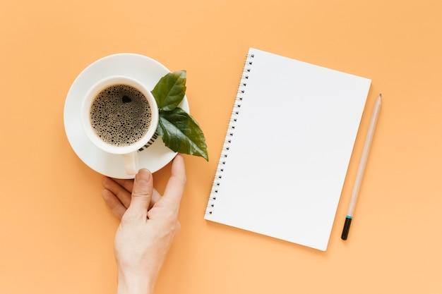 コーヒーカップとプレートを持っている手の平面図 無料写真