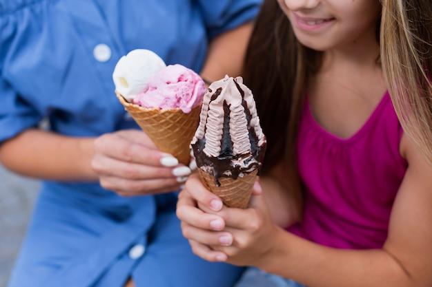 Крупный план мороженого конусов Бесплатные Фотографии