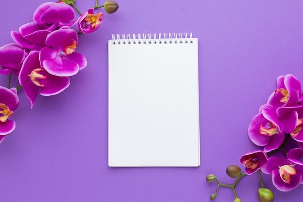 空のメモ帳のモックアップと蘭の花 無料写真