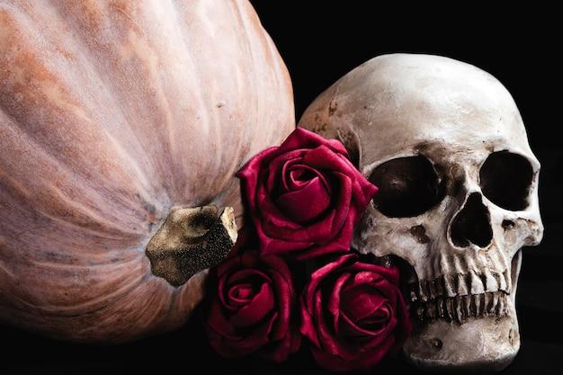 人間の頭蓋骨とカボチャのバラ 無料写真