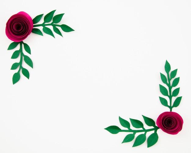 Вид сверху красочная цветочная рамка из бумаги Бесплатные Фотографии