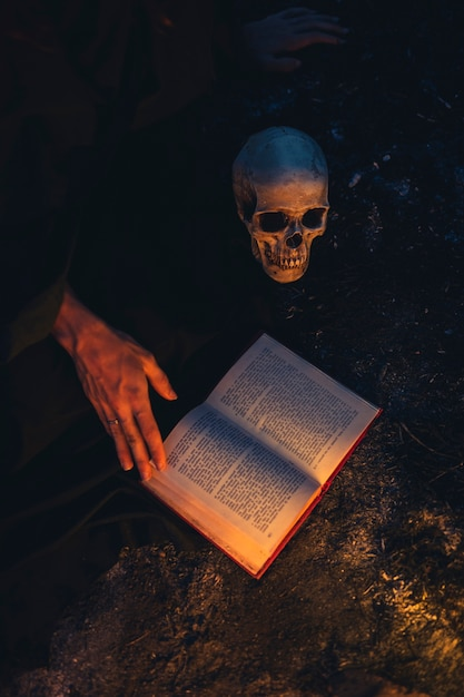 Тьма ночи с высоким черепом Бесплатные Фотографии