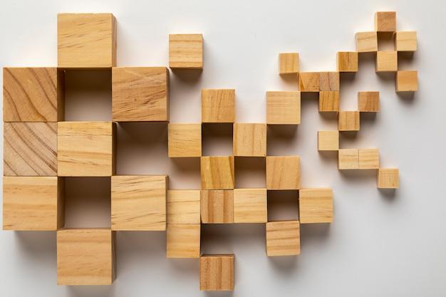 木製キューブから作られたアメリカ合衆国の地図 無料写真