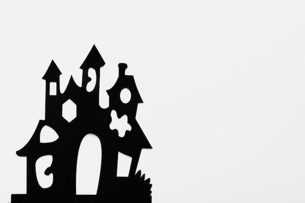 白い背景の上のトップビュー不気味な大邸宅 無料写真