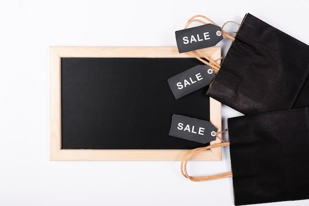 買い物袋のトップビュー黒板 無料写真