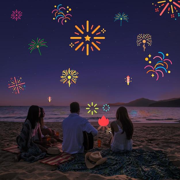 友人と花火フィルターを備えたクリスタルクリアな夜空 無料写真