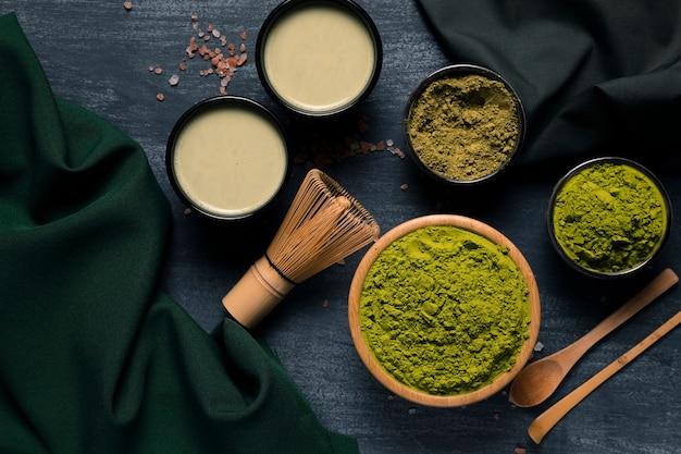 緑茶の造粒のトップビューの種類 無料写真