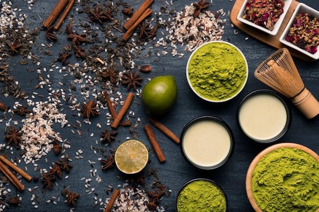 アジア茶抹茶成分のセット 無料写真