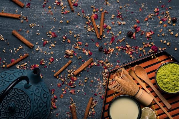 伝統的なアジア茶抹茶のコレクション 無料写真
