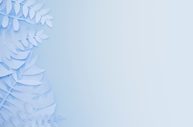 Оригами экзотические бумажные растения на синем фоне градиента Бесплатные Фотографии