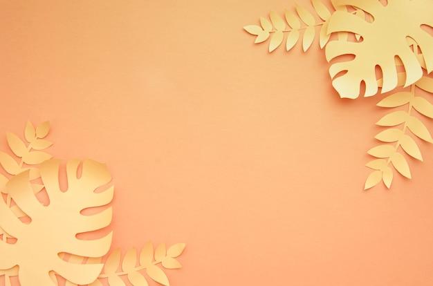 オレンジ色の背景にモンステラの葉コピースペース 無料写真