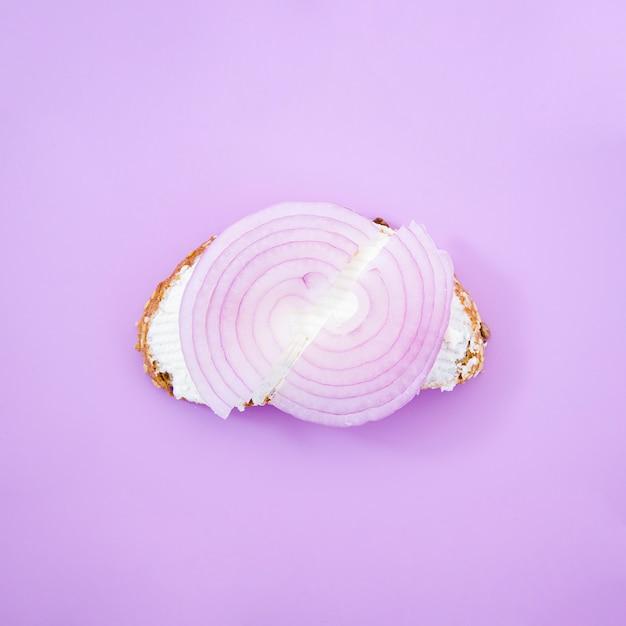 おいしいオニオンサンドイッチトップビュー 無料写真
