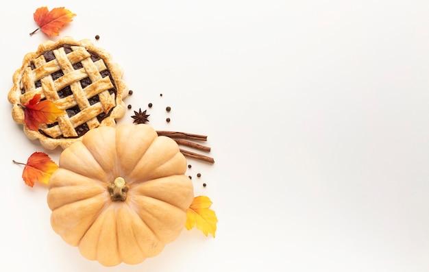 感謝祭の食べ物とコピースペースのトップビューフレーム 無料写真