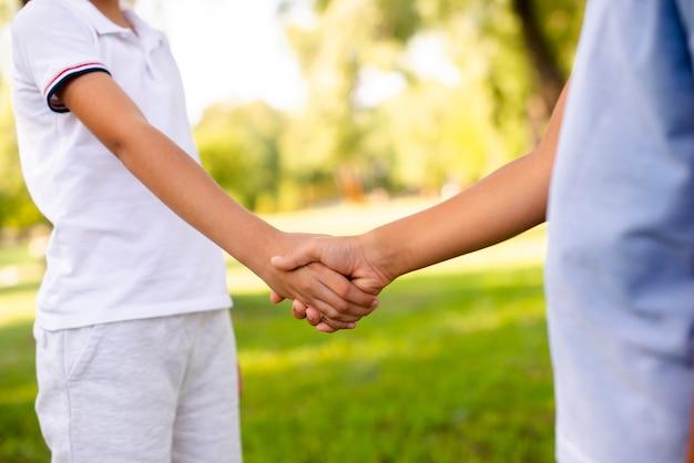 男の子が公園で握手 無料写真