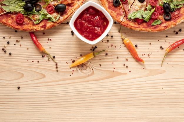 コピースペースを持つフラットレイアウト食品フレーム 無料写真