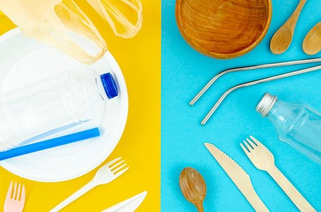 異なる使い捨てのプラスチックと紙のカトラリー 無料写真