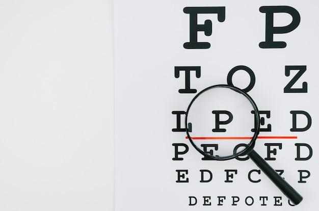 虫眼鏡の下の文字の選択 無料写真