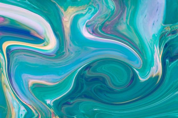 波状グラデーション青と緑のアクリル現代美術 無料写真