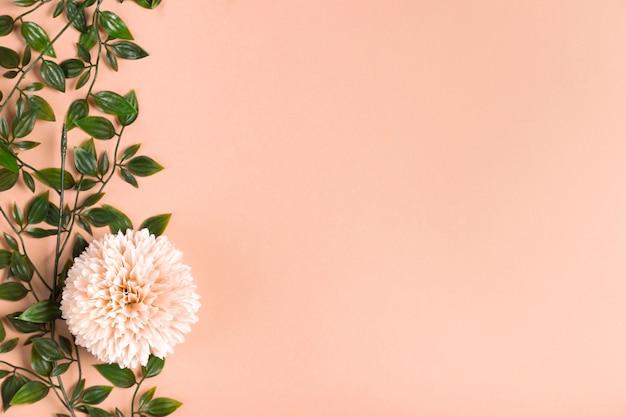 Копия пространство цветущий цветок с листвой Бесплатные Фотографии